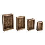 Tim Holtz Idea-Ology Wooden Vignette Boxes 4 Per Pack, 4 Sizes From 5.5 x 10cm x 3.8cm To 3.2 x 2.2 x 1, Natural With Brown