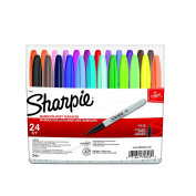 Sharpie Permanent Markers, Fine Point, Assorted Colours, 24-Count