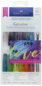 Faber-Castell Gelatos Colours Set, Iridescents - Water Soluble Pigment Crayons - 15 Iridescent Colours