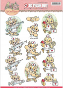 Find It Trading Yvonne Creations Punchout Sheet-Get Well Soon Animal Nurses