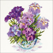 Irises In Vase Counted Cross Stitch Kit-17.75x17.75 14 Count
