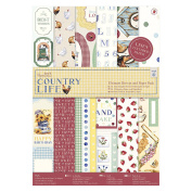 Papermania Ultimate A4 Die-Cuts & Paper Pack 48/Pkg-Country Life, Linen Finish