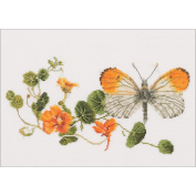 Butterfly & Nasturtium On Aida Counted Cross Stitch Kit-11.5x7 18 Count