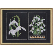 Snowdrops Panel On Aida Counted Cross Stitch Kit-33cm x 22cm 18 Count
