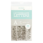 American Crafts 188 Piece 2.5cm Letter Pack Die Cuts with a View Letterboards, 2.5cm , Silver
