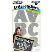 Artskills Self-Stick Poster Letters & Numbers 72/Pkg-Silver Glitter