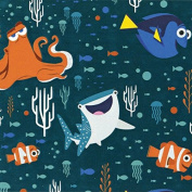 Disney Finding Dory-Camelot Design Studio 2.5cm Cotton D/R-Characters & Coral - Dark Teal