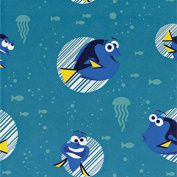 Disney Finding Dory-Camelot Design Studio 2.5cm Cotton D/R-Dory Faces - Turquoise