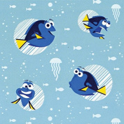 Disney Finding Dory-Camelot Design Studio 2.5cm Cotton D/R-Dory Faces - Aqua