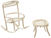 Midwest Design Micro Mini Iron Garden Rocking Chair & Table Set (2 Pack), Cream