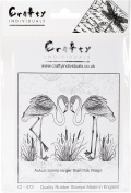 Crafty Individuals Unmounted Rubber Stamp 9.5cm x 14cm Pkg-Pretty Flamingos