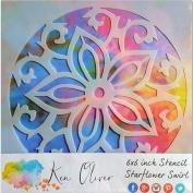 Ken Oliver Stencil 6x6-Starflower Swirl