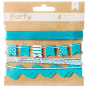 American Crafts DIY Party Decorative Trims (4 Pack), Blue and White