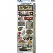 Paper House STCX196E Cardstock Stickers, Army