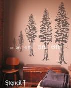 Stencil1 Stencil1 0.6m Wall Stencil Redwood Tree, Acrylic, Multicolour