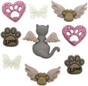 Jesse James Buttons, Dress It Up, MY PURRFECT ANGEL pkg #9350 Craft Sewing Buttons