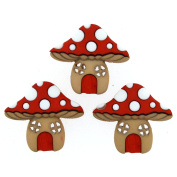 Jesse James Buttons, Dress It Up, MUSHROOM HOUSES pkg #93870 Craft Sewing Buttons