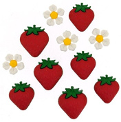 Jesse James Buttons, Dress It Up, FRESH STRAWBERIES pkg #9389 Craft Sewing Buttons