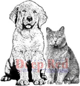Deep Red Rubber Cling Stamp Furry Friends Dog and Cat Kitten Puppy