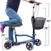 Deecam Steerable Knee Walker for Broken Leg & Foot Double Hand Braking System Heavy Duty Crutches Alternative