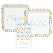 Easter, 16 Servings, Happy Easter Paper Dinner Plates and Paper Guest Napkins Bundle, 3 Items