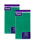 2-Pack Green Disposable Plastic Tablecloths / Table Covers, 140cm x 270cm each