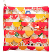 Freckled Fawn Printed Clear Plastic Zippered Pouch 20cm x 20cm -Scallop Banner