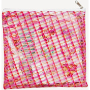 Freckled Fawn Printed Clear Plastic Zippered Pouch 20cm x 20cm -Plaid