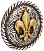 Realeather Crafts Fleur De Lis Concho Screwback, 3.2cm , Gold and Nickel