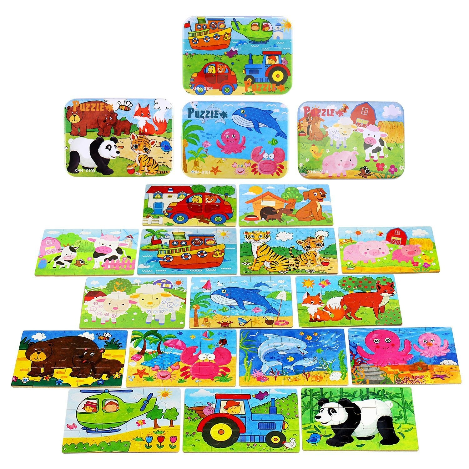 Wooden Jigsaw Puzzles Toy for Kids ,BBLIKE 224pcs Puzzles in 4 Tin Boxes  ,Varying Degree of Difficulty Educational Tool Best Birthday Present for  Boys