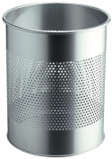 Durable 15 Litre Waste Basket Metal Round 30mm Perforation - Silver by Durable