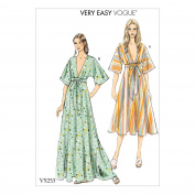 Vogue V9253 4-14 Sewing Pattern Ladies Lounging Dress Kimono Tie Front 2 Lengths