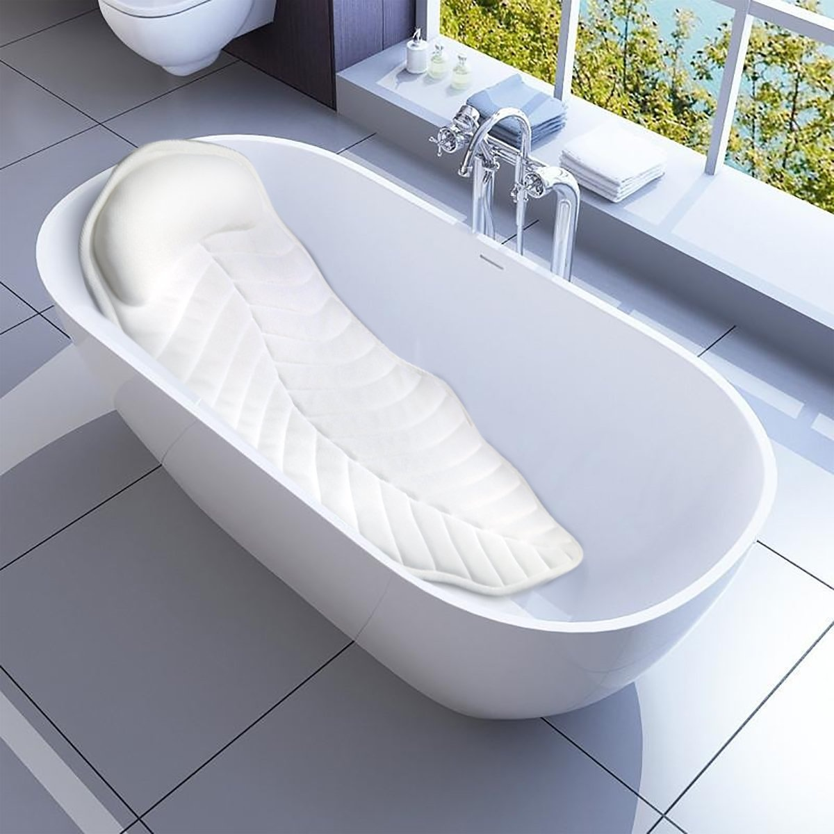 Full Body Spa Bath Pillow Mat, Non-Slip Bathtub Mattress Luxury ...