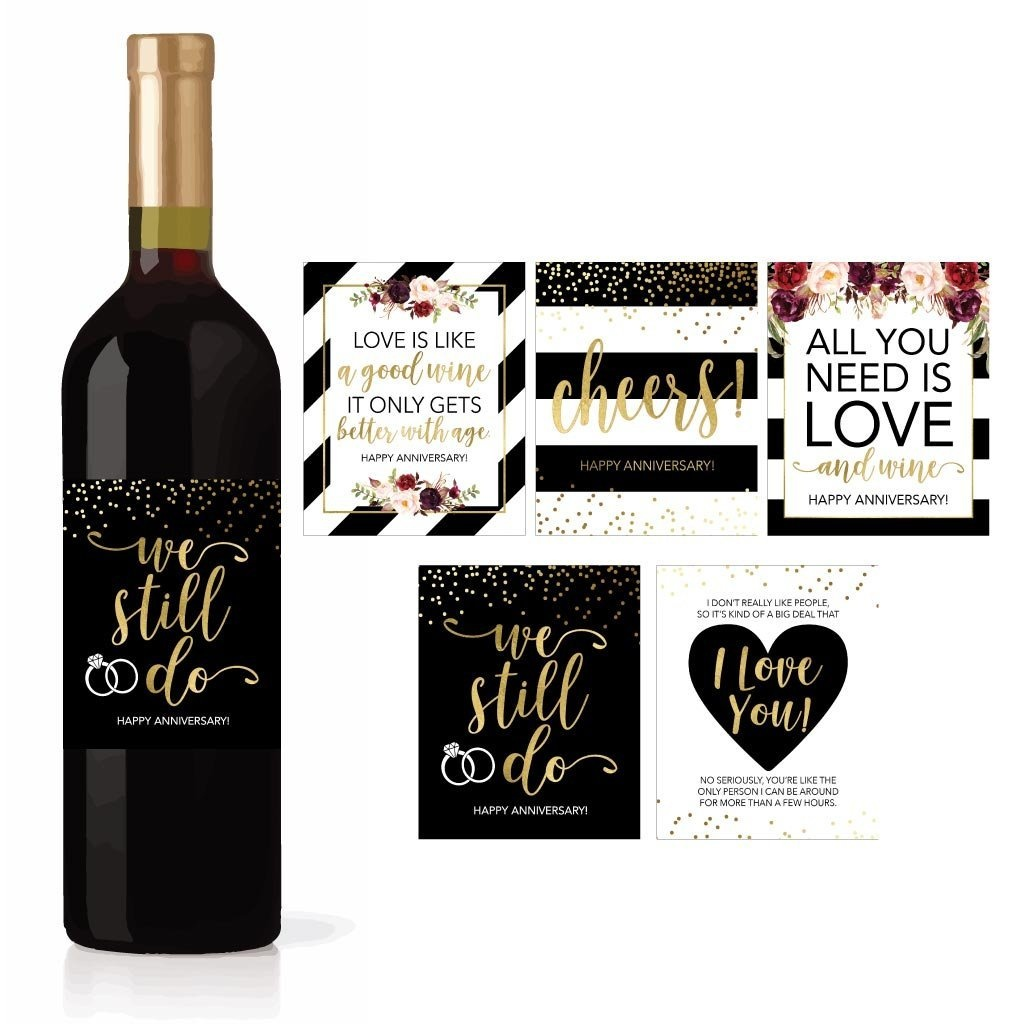5 Wedding Anniversary Wine Label Stickers For 20th 25th 30th 40th