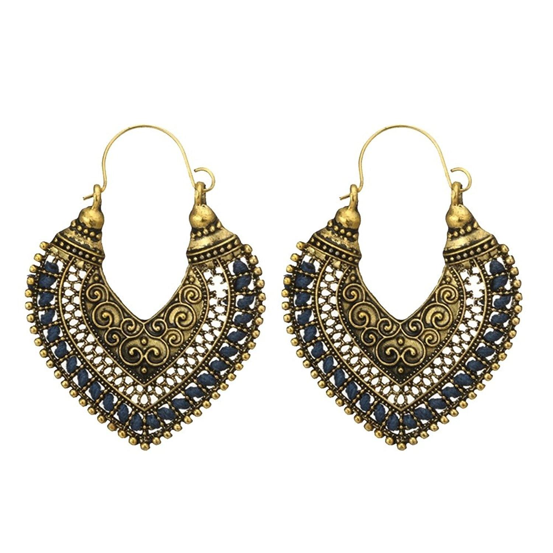 Novelty Jewellery Homeofying Boho Women Hollow Carved Faux Gemstone Tassel Earrings Drop Dangle Dangling Earrings Hook Earring Jewelry Jewellery