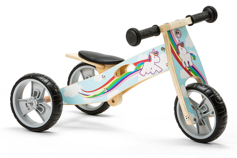 Nicko Mini 2 In 1 Wooden Balance Bike Toddler Trike Tricycle Unicorn Nic814