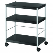PaperFlow Multipurpose 3 Shelf Mobile Trolley, Heavy Duty, 29.14 x 60cm x 36cm , Black