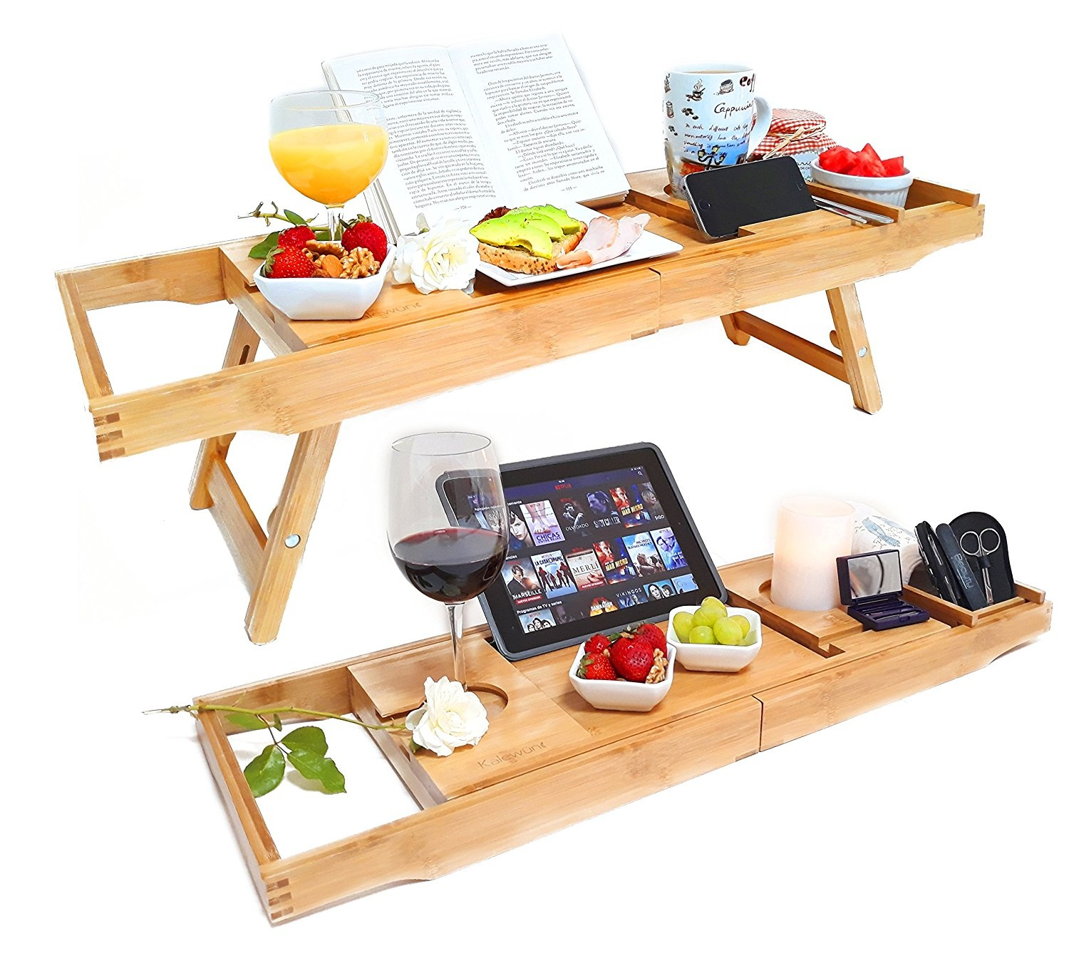 Premium 2 in 1 Bamboo Bathtub Caddy & Laptop Bed Tray | Extending ...