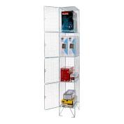 Seco WL-3 305 x 305 x 1980 mm 4 Door Wire Mesh Locker with 4 compartments