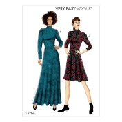 Vogue V9264 14-22 Sewing Pattern High Neck Pullover Slim Dress & Gown Princess Long Sleeves