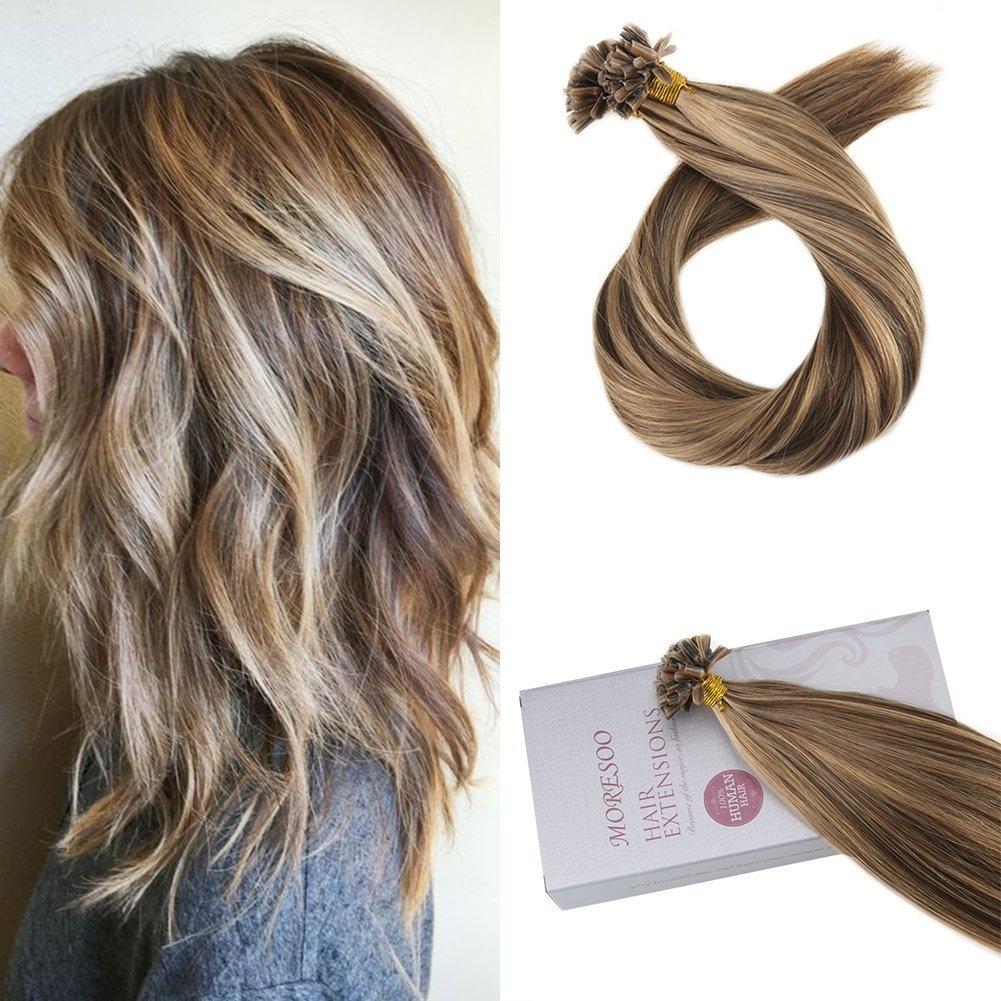 Moresoo 60cm Hair Extensions U Tip Human Hair Keratin Extensions Pre
