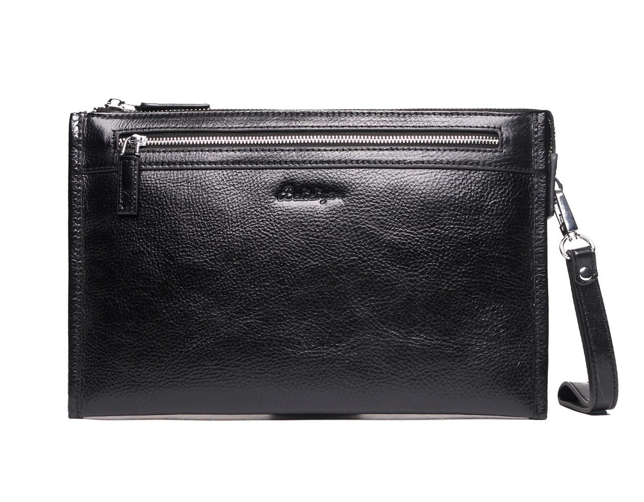 fe93a7e6b13e Mens Genuine Leather Clutch Bags Vintage Retro Chequebook Handbag Large Zip  Wristlet Purse Credit Card Holder Black Wax Leather for Office Casual Ipad