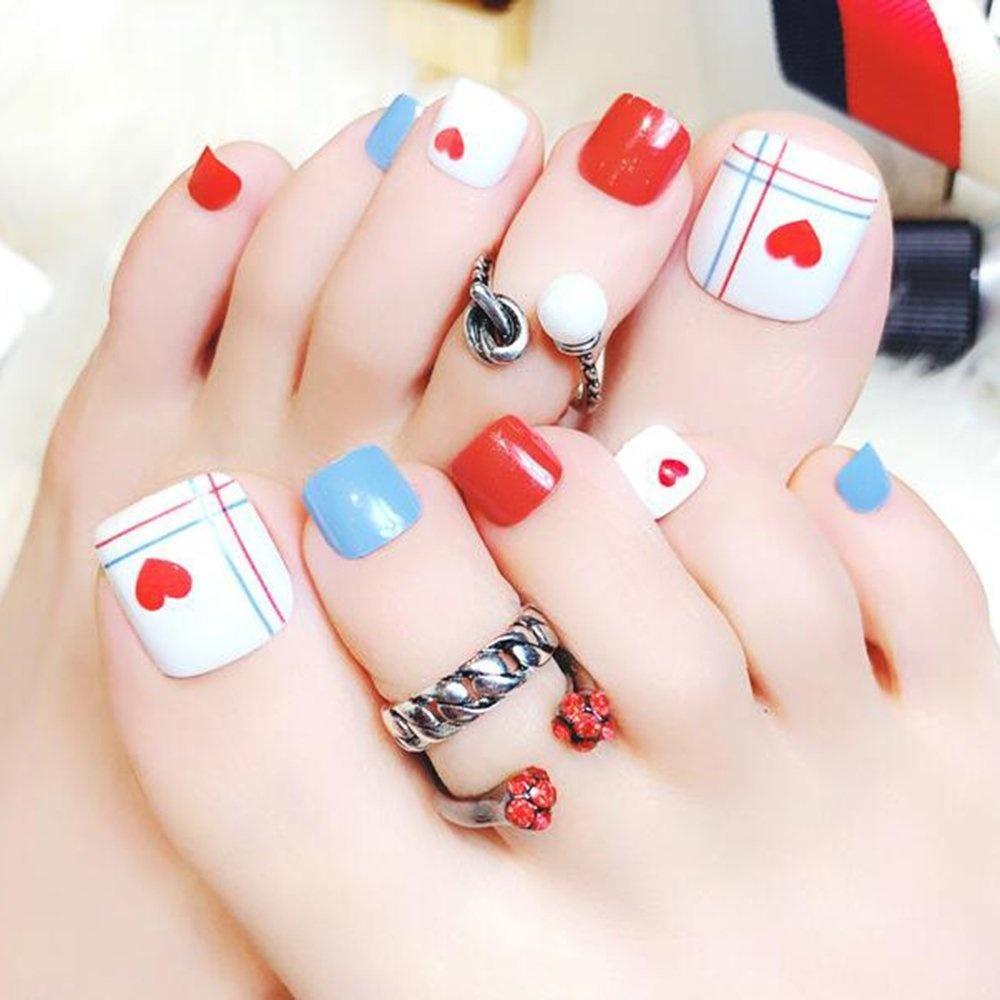 Dongcrystal 24 PCS False Toenail Fake Nail for Toes Red Love Heart ...