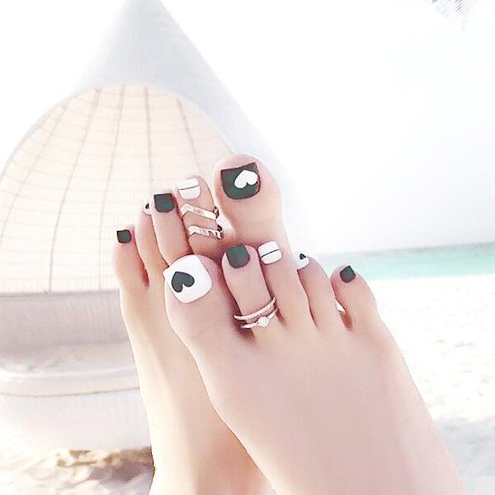 Dongcrystal 24 PCS Green False Toenail Fake Nail for Toes Love Heart ...
