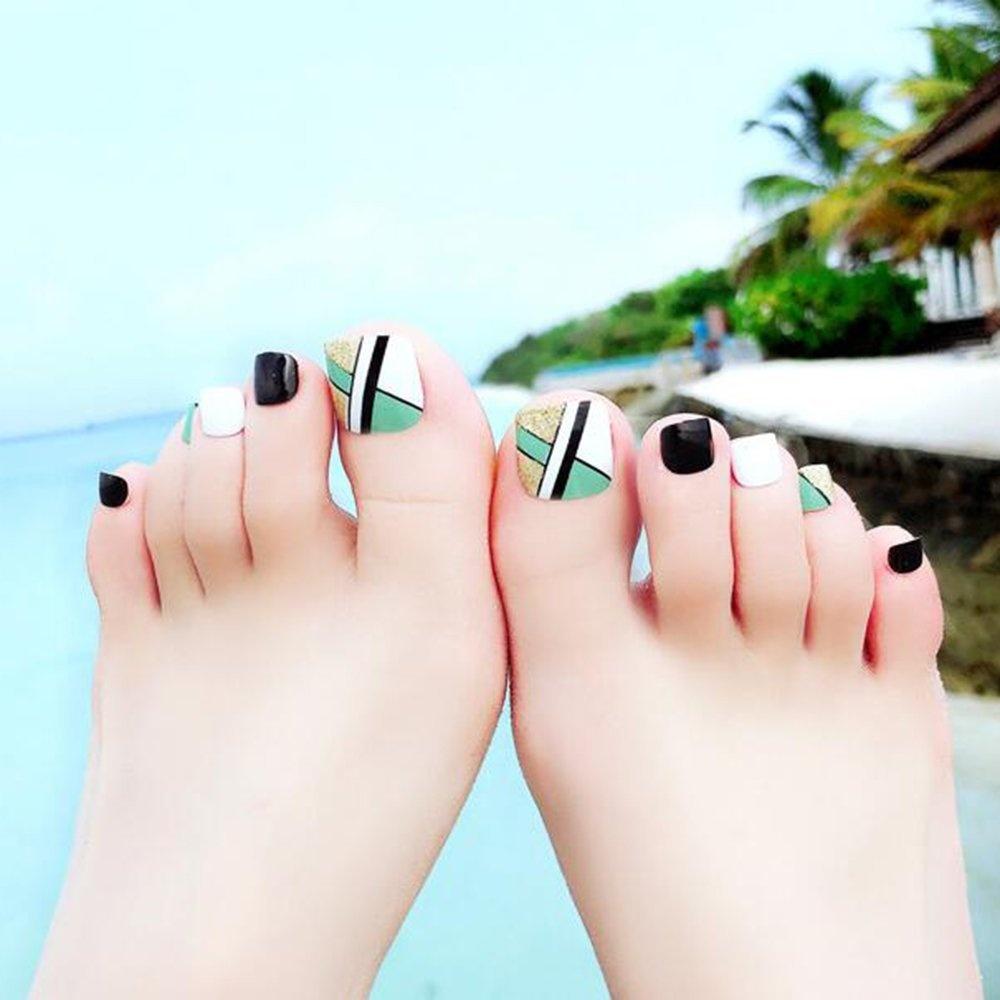 Dongcrystal 24 PCS False Toenail Fake Nail for Toes Full Cover Nail ...