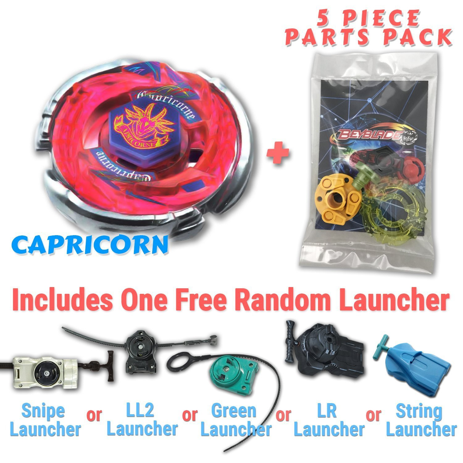 Storm Capricorn BB-50 Beyblade Starter Set Includes Free Gifts - 1  Launcher, 1 Random Stats Card, & 5 Piece Beyblade Parts Pack - All from  Metal