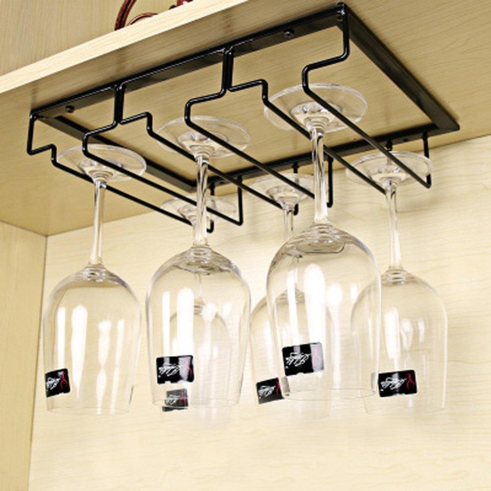Home & Garden Space Saving European Bar Under Cabinet Wine Glass Holder Portable Black Iron Display Organizer Kitchen Stemware Rack Novelty