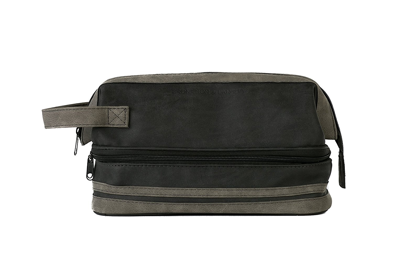 40f96eb01edb Danielle Creations Brompton and Langley Black and Charcoal, Two Section  Wash bag