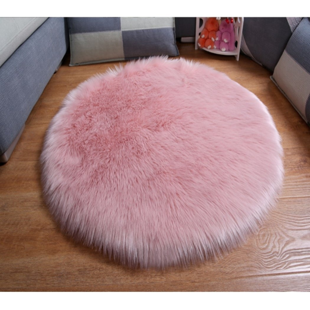 Dreamsoule Round Kids Rugs Pink Round Lace Soft Baby Floor