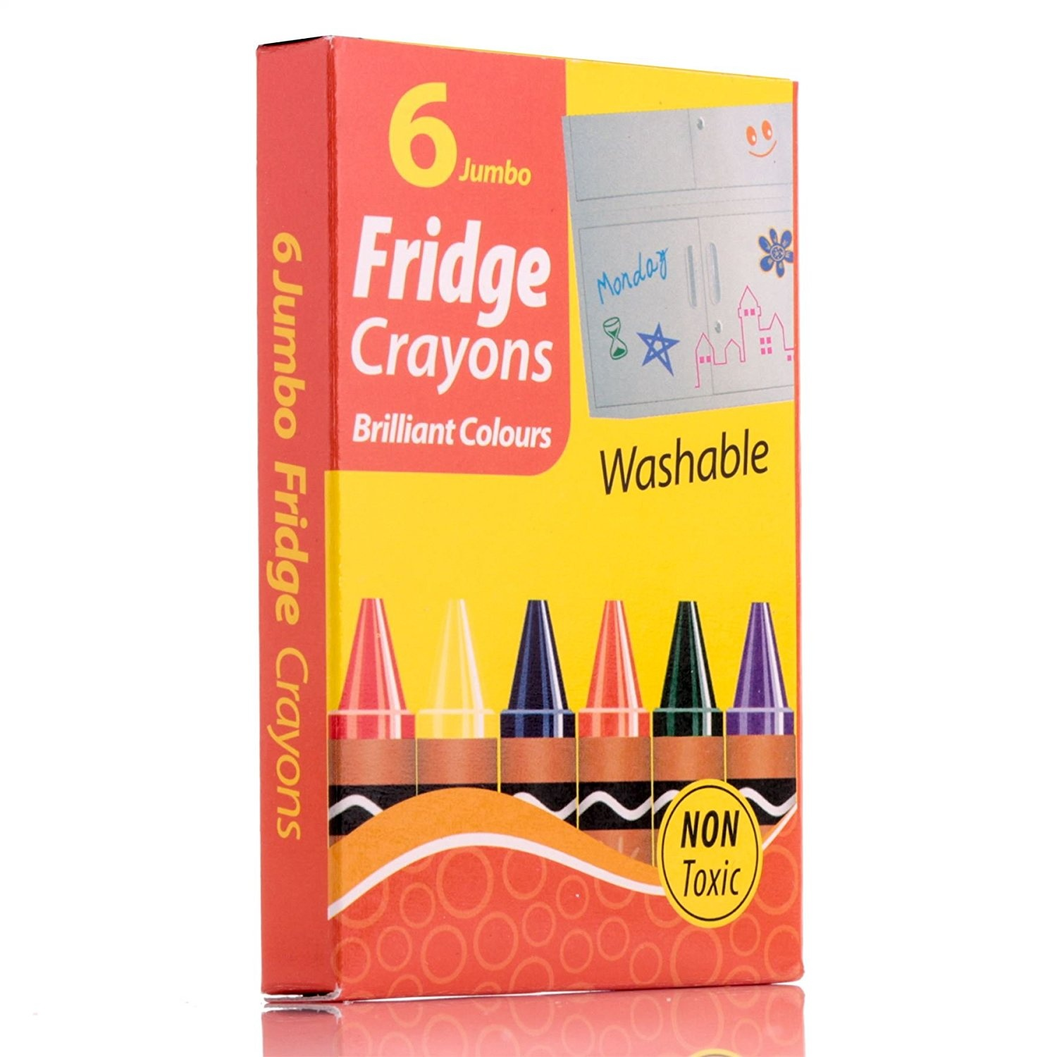 6 Fridge Crayons Colouring Baby Jumbo Toddler Toy Washable Non Toxic Art Craft